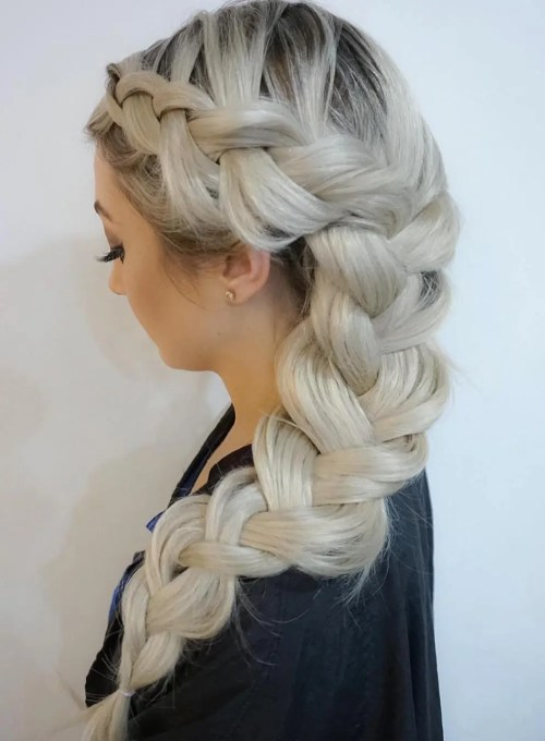 Long Chunky Side Braid Hairstyle