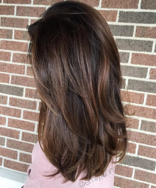 Long Dark Hair with Chocolate Highlights