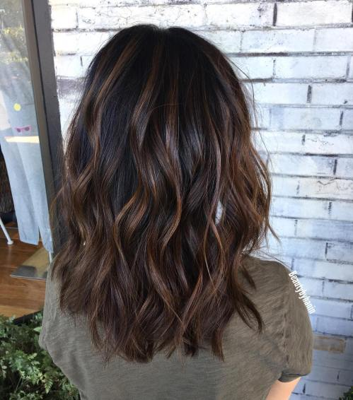Wavy Dark Chocolate Brown Balayage Hair