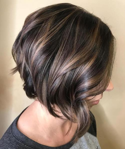 Inverted Curled Brunette Bob