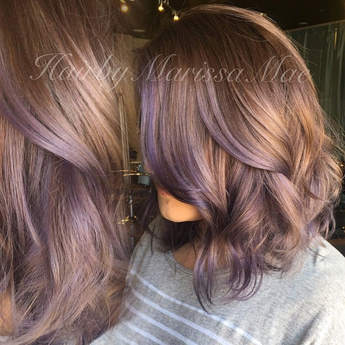 light brown hair with lavender highlights