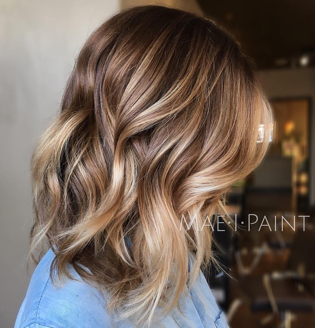 45 light brown hair color ideas light brown hair with highlights lob with brown blonde balayage pmusecretfo Gallery