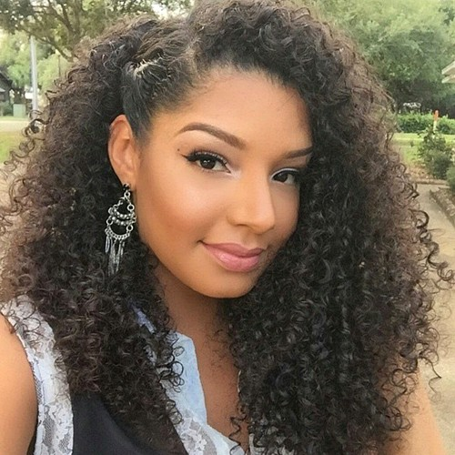 cute simple hairstyle for long curly hair
