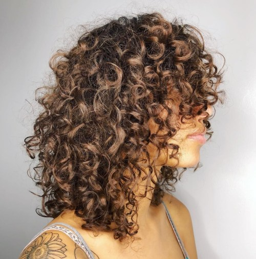 Medium Natural Layered Curly Cut