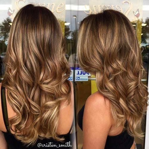 Shiny Caramel Bronde Balayage Hair
