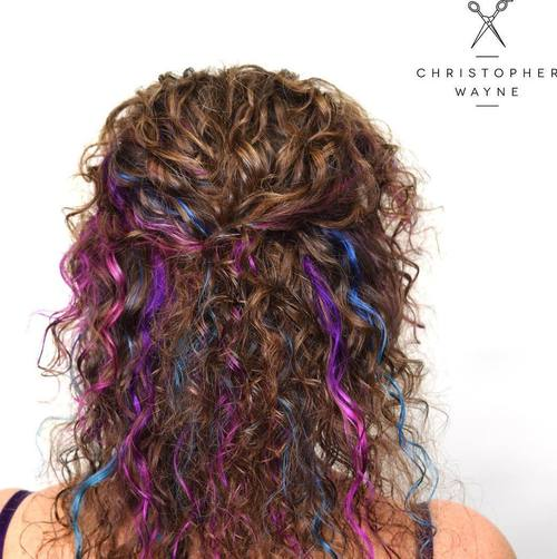 Curly Brown Hair With Blue And Purple Highlights