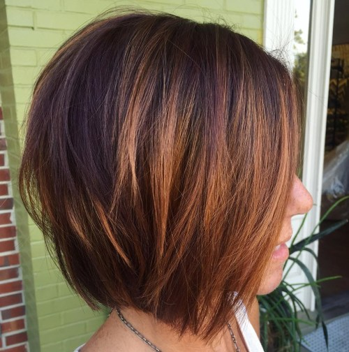 Cute Layered Caramel Brown Bob