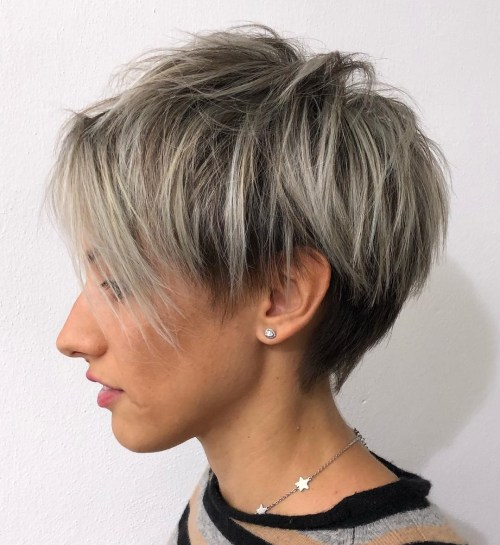 Straight Feathered Pixie With Choppy Bangs