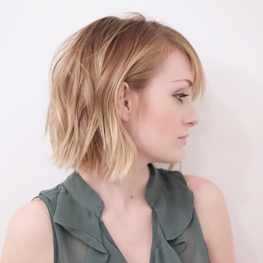 Strawberry Blonde Shaggy Bob