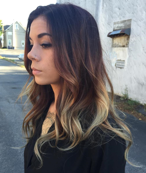 Brown And Blonde Balayage For Black Hair