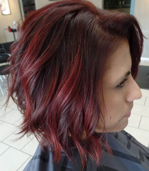 Brown Wavy Bob With Burgundy Highlights