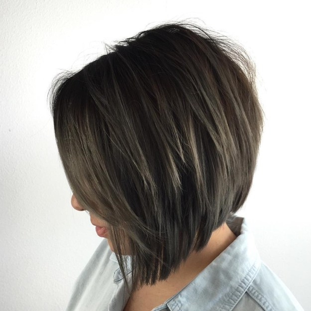 Brunette Layered Inverted Bob