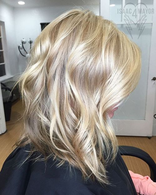Mid-Length Shiny Blonde Hairstyle