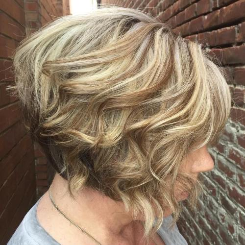 Blonde Wavy Stacked Bob For Older Women