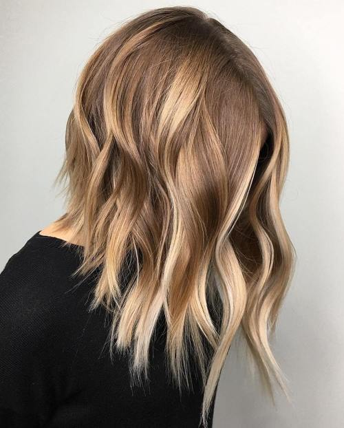 Choppy Caramel Blonde Lob