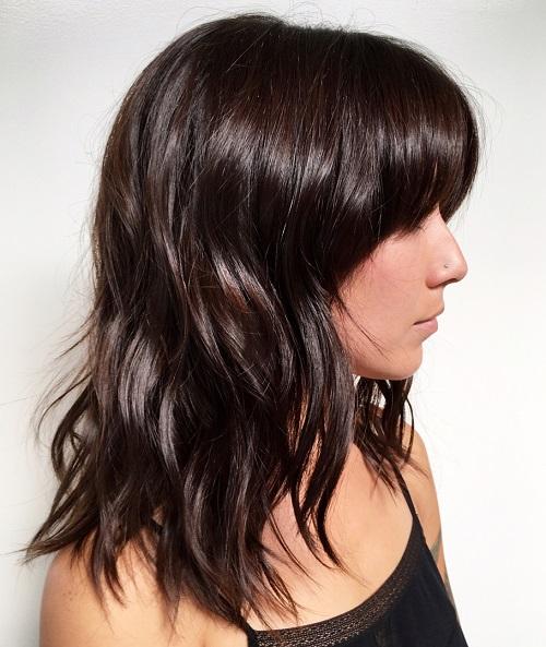 Layered Brown Haircut With Bangs