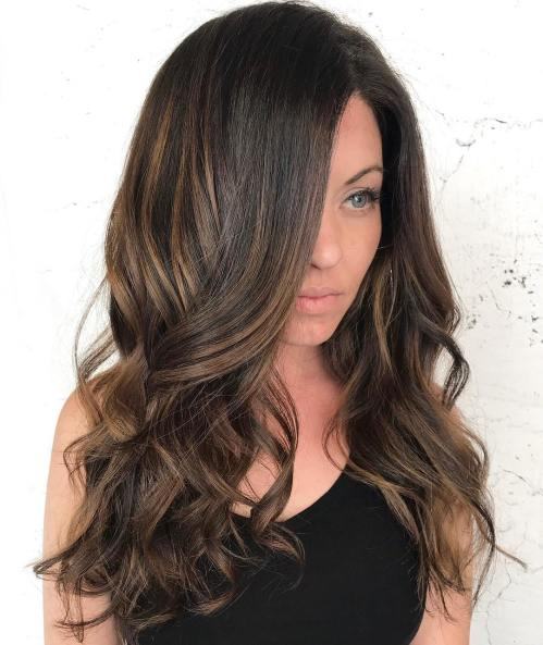 Long Brunette Hairstyle with Bronze Highlights