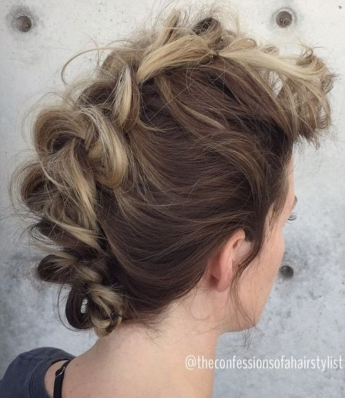 messy fauxhawk braid updo