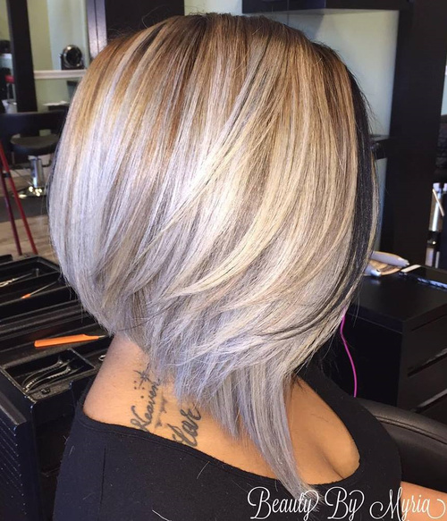 Silver Blonde Angled Layered Bob