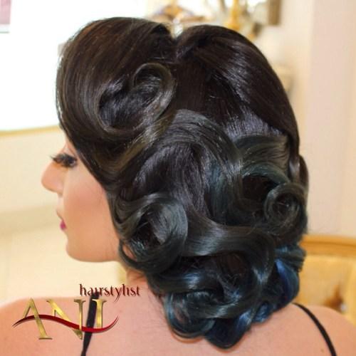 Brunette Curled Vintage Updo