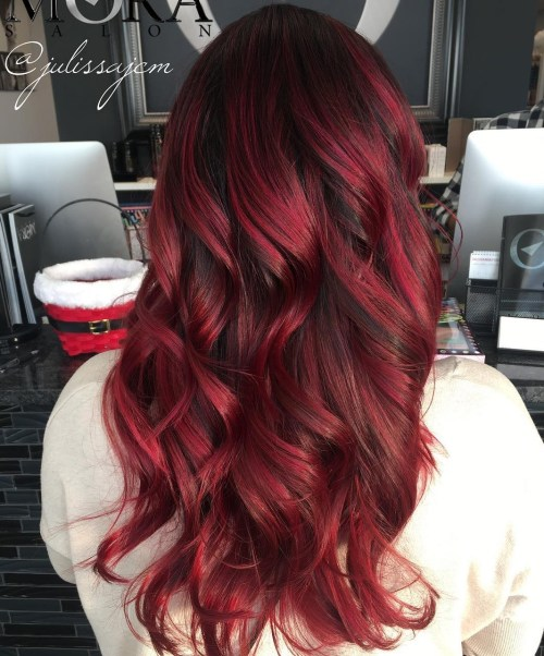 Long Scarlet Balayage Hair