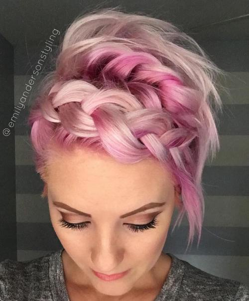 Messy Braided Pastel Pink Hairstyle