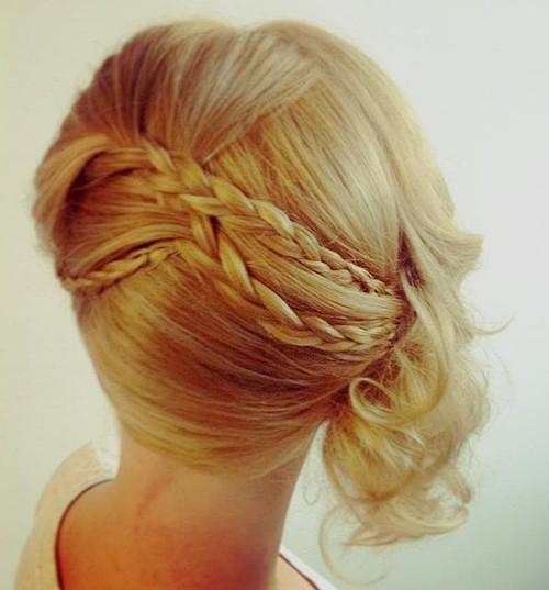 braided side updo for shorter hair