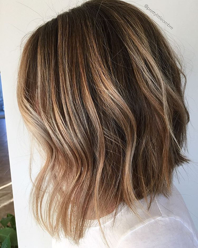 Long Brown Balayage Bob & 50 Light Brown Hair Color Ideas with Highlights and Lowlights