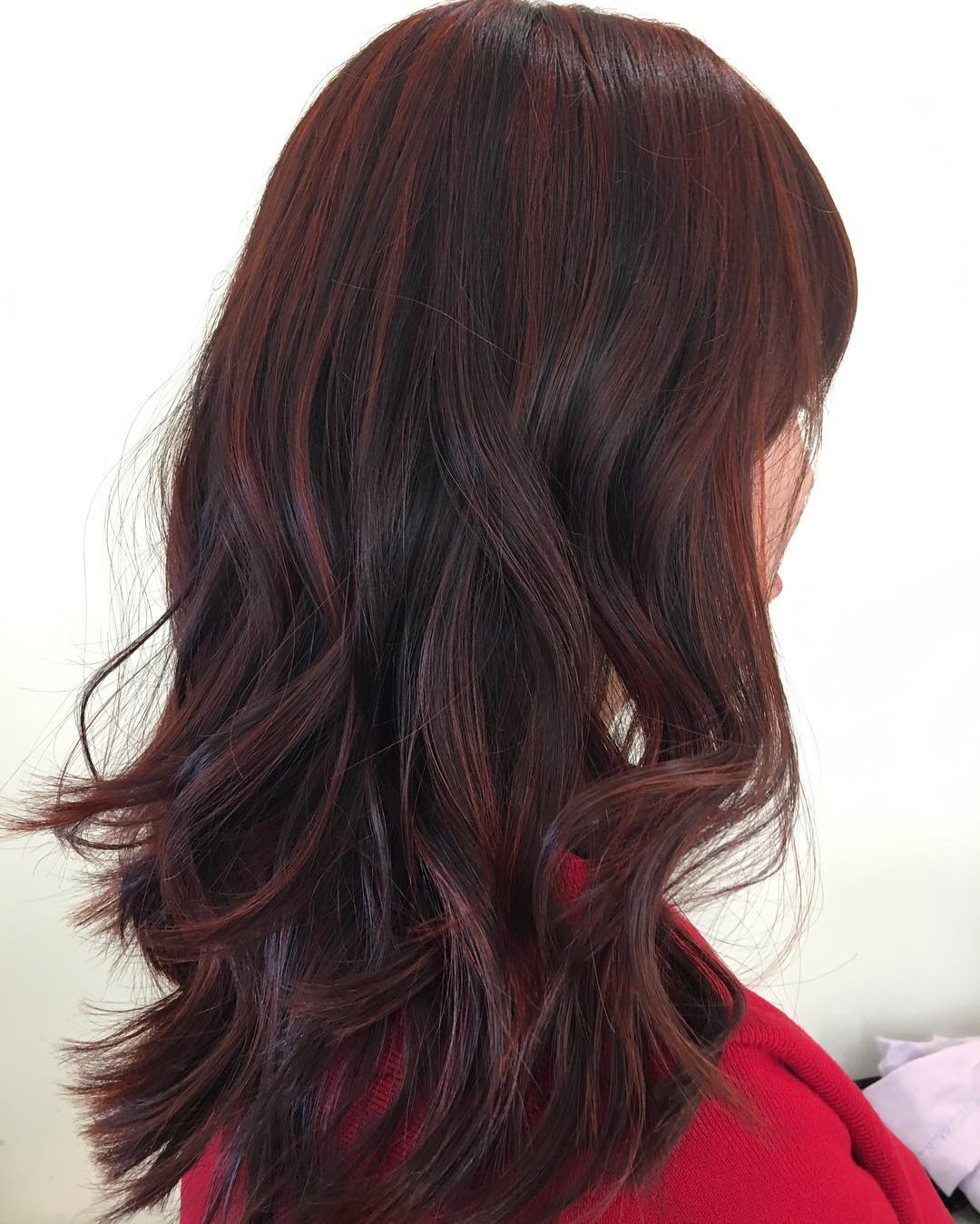 Maroon Balayage For Dark Brown Hair