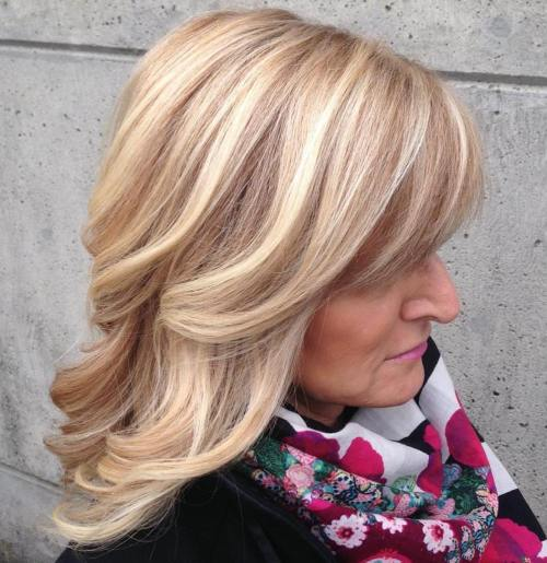 Medium Length Hairstyles For Women Over 50 medium length hairstyle for women over 50 Medium Wavy Blonde Hairstyle For Women Over 50