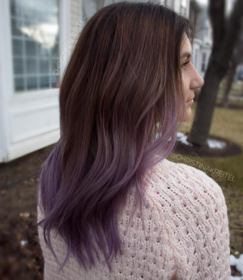 Brown To Ash Purple Ombre