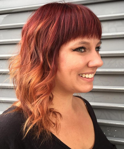 Burgundy To Copper Ombre For Medium Hair