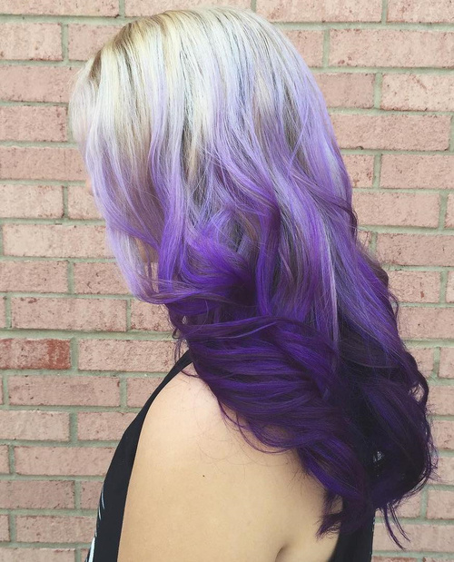 Ash Blonde To Purple Reverse Ombre