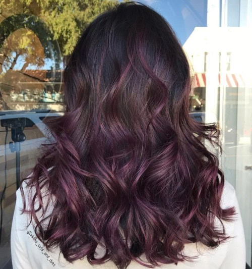 Black Hair With Subtle Purple Balayage