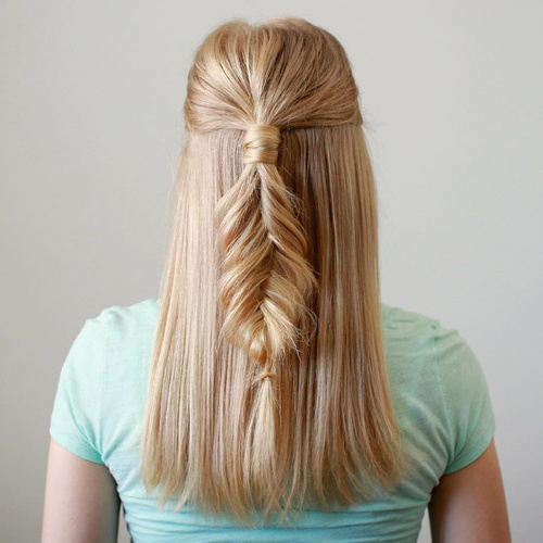 blonde half up fishtail for straight hair