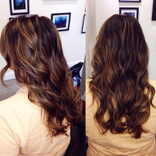 dark brown hair with caramel brown highlights