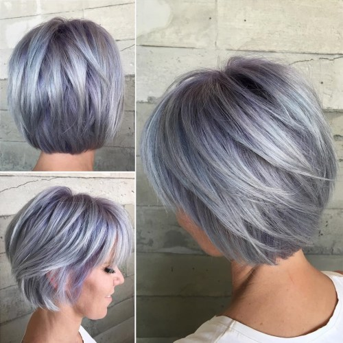 Short Layered Pastel Purple Bob