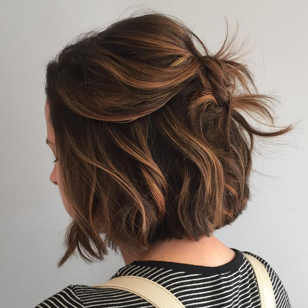 Caramel Balayage For Brown Bob