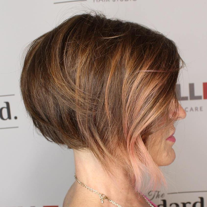 Honey And Pastel Pink Highlights For Brown Hair