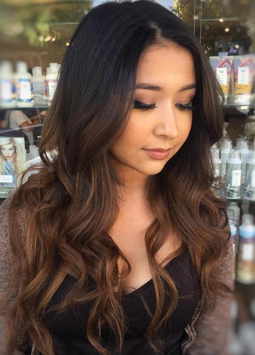 60 chocolate brown hair color ideas for brunettes long black hair with brown balayage urmus Images