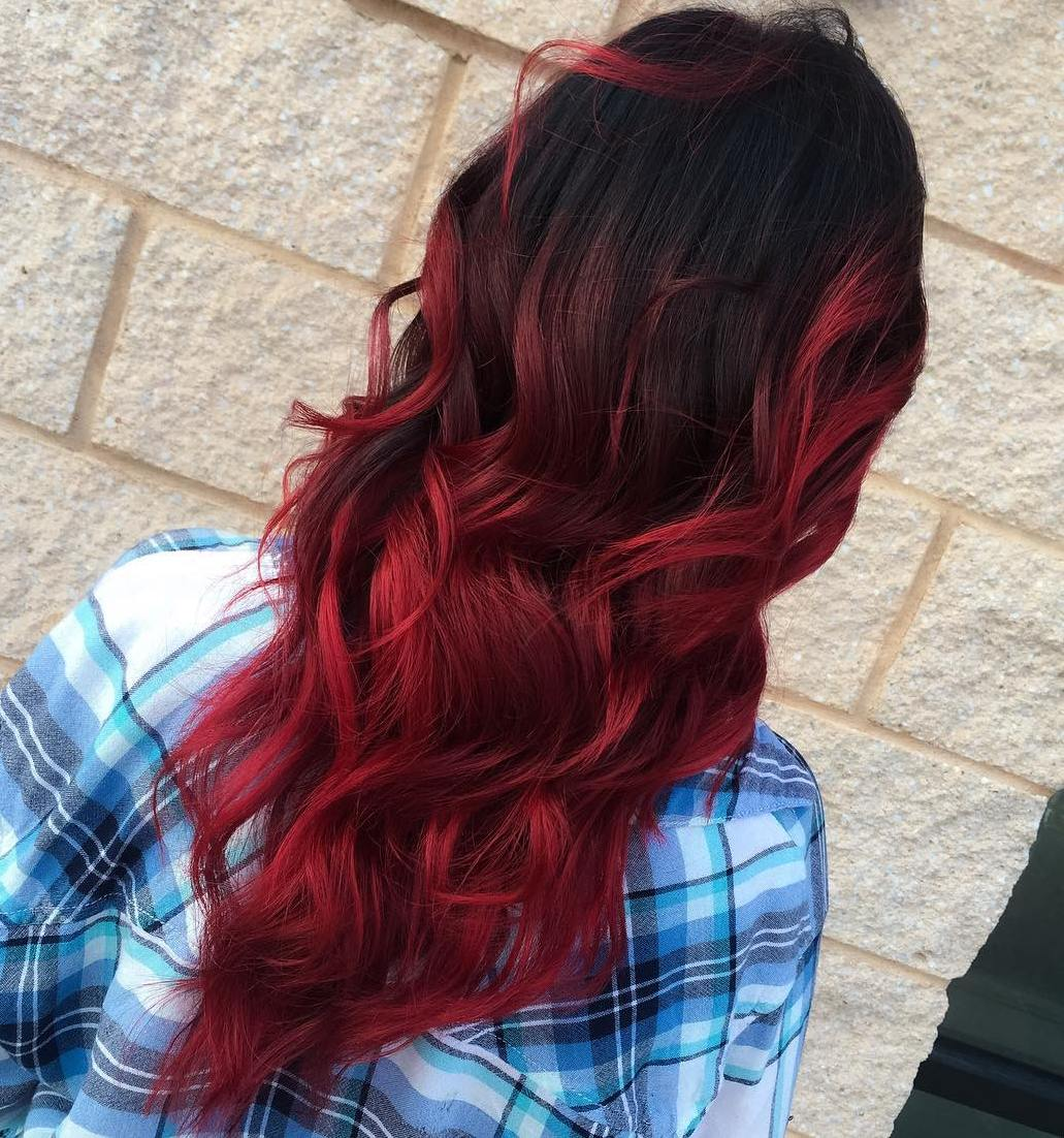 Red on top ombre black hair photo