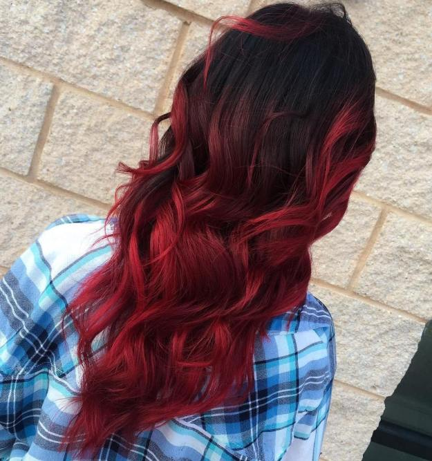 Crimson Balayage Ombre For Black Hair