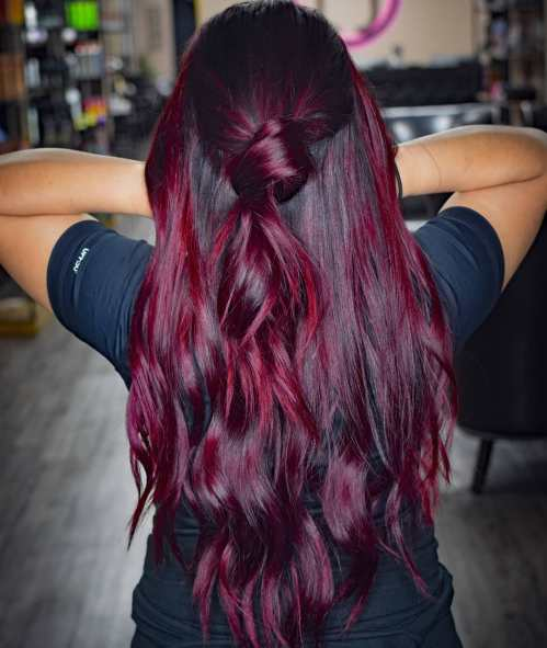 Dark Hair With Bright Burgundy Red Highlights