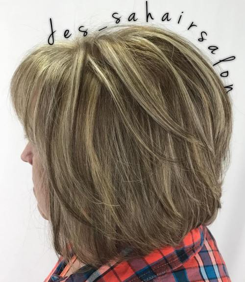 Medium Length Hairstyles For Women Over 50 medium wavy blonde hairstyle for women over 50 Layered Bronde Bob For Women Over 50