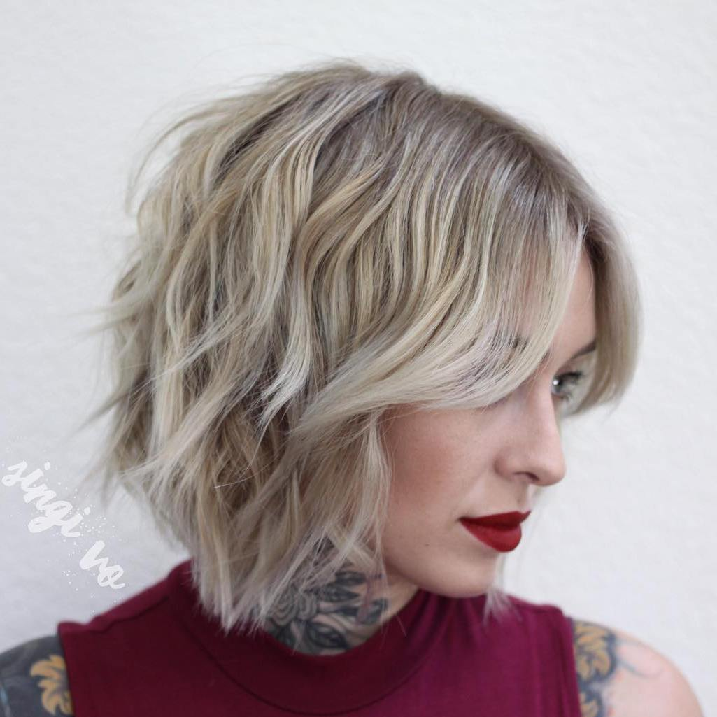 Medium Length Choppy Wavy Bob