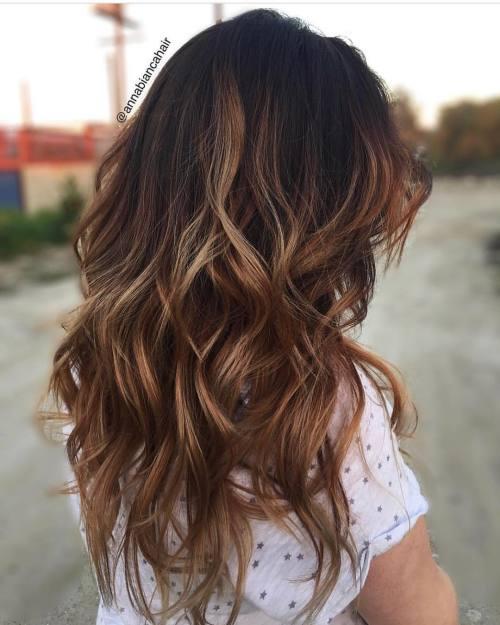 Warm Brown Balayage For Black Hair