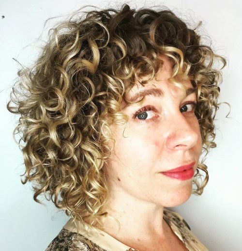 Curly Bob with Curly Bangs