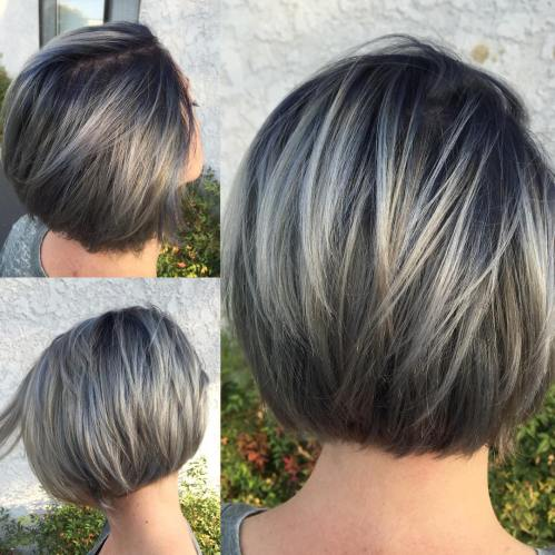 Layered Ash Blonde Balayage Bob