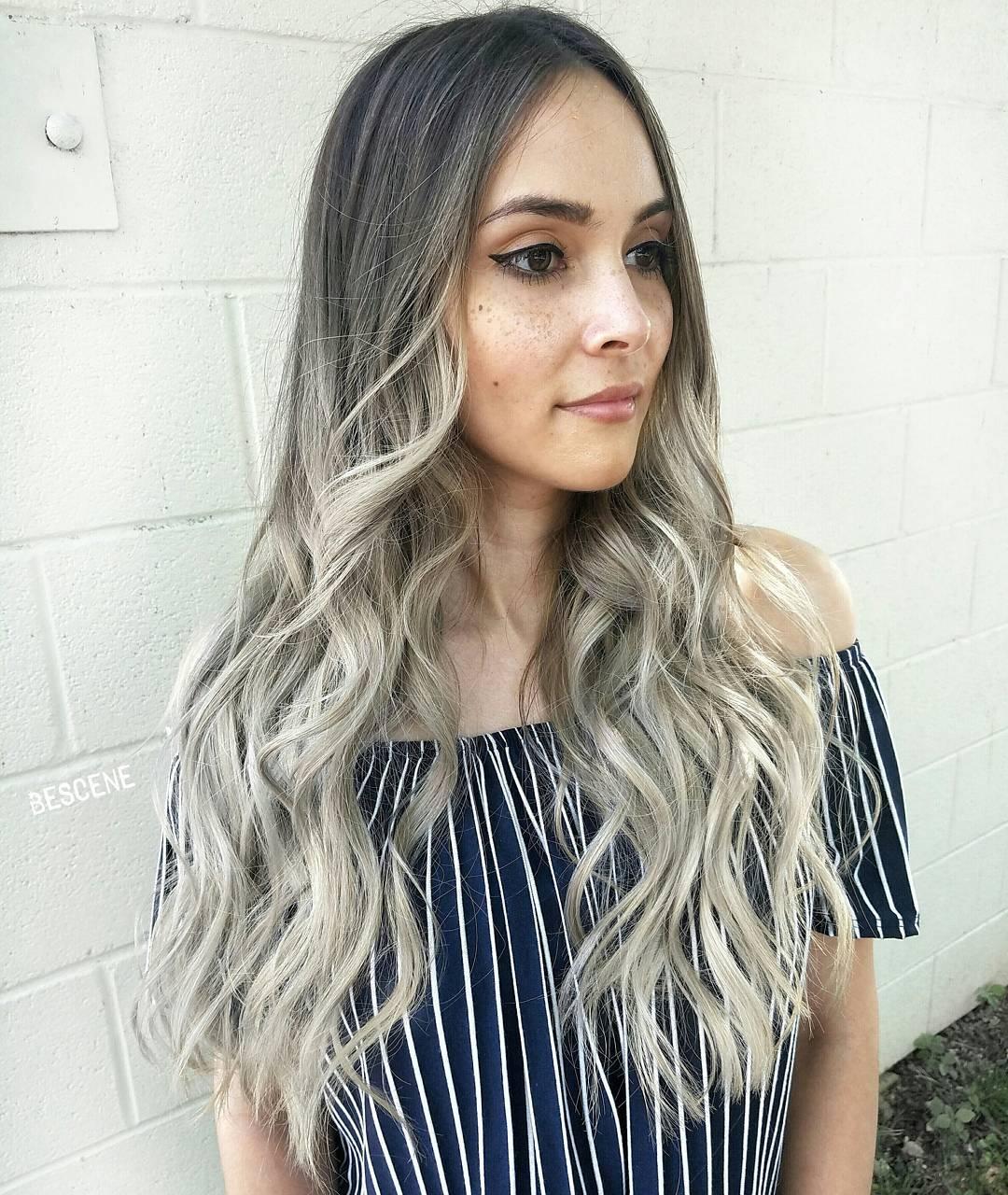 Long Ash Blonde Ombre Hair