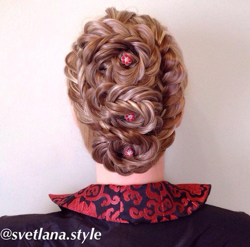 three braided flowers updo with fishtail braids